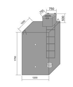 Металлический погреб 1200х1200